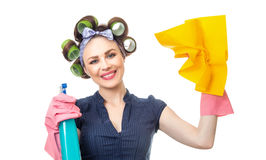 Housewife with rag Stock Image