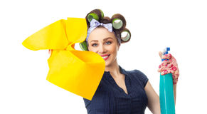 Housewife with rag. Woman with rag or wipe and cleaning spray for window. Close up of a housewife, isolated on white Stock Images
