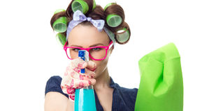 Housewife with rag Stock Photography