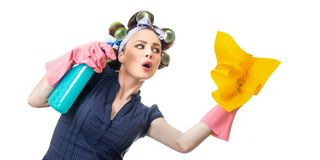 Housewife with rag Royalty Free Stock Photography