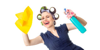 Housewife with rag. Woman with rag or wipe and cleaning spray for window. Close up of  housewife, isolated on white Stock Image