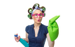 Housewife with rag. Woman with rag or wipe and cleaning spray for window. Close up of  housewife, isolated on white Royalty Free Stock Photos