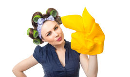 Housewife with rag. Woman with rag or wipe. Close up of a housewife, isolated on white Stock Photo