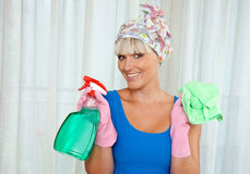 Housewife ready for cleaning Stock Image