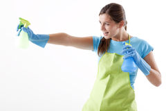 Housewife Ready To Fight With Spray Bottle Royalty Free Stock Image