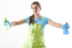 Housewife Ready To Fight With Spray Bottle Stock Photo