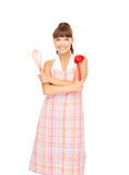 Housewife with red ladle Royalty Free Stock Images