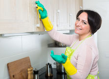 Housewife removing spots from cupboards in kitchen Stock Photography