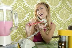 Housewife retro vintage talking phone nail file Stock Image