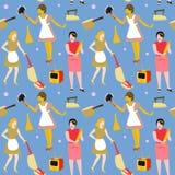 Housewife Retro Woman Seamless Pattern.  Stock Photo