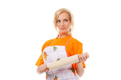 Housewife with rolling pin Royalty Free Stock Photography
