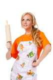 Housewife with rolling pin Royalty Free Stock Images