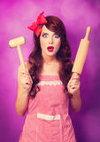 Housewife with rolling pin Royalty Free Stock Photo