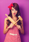 Housewife with rolling pin Stock Photo
