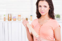 Housewife with rolling pin. Stock Photos