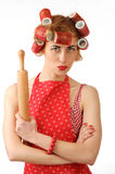 Housewife with a rolling pin Royalty Free Stock Photos