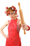 Housewife with a rolling pin Royalty Free Stock Images