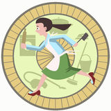 Housewife running with kitchen tools in hamster wheel cartoon Royalty Free Stock Image