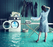 Housewife`s dreams. Creative concept. Photo combination Stock Image