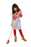 Housewife with scrobbing tool Royalty Free Stock Images