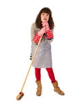 Housewife with scrobbing tool Stock Photo