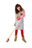 Housewife with scrobbing tool Royalty Free Stock Image