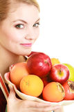 Housewife or seller offering healthy fruit isolated Royalty Free Stock Photography