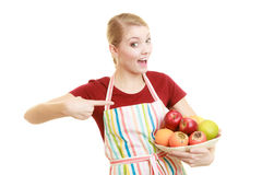 Housewife or seller offering healthy fruit isolated Royalty Free Stock Photos