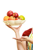 Housewife or seller offering healthy fruits Royalty Free Stock Photo