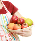 Housewife or seller offering healthy fruits isolated Royalty Free Stock Image