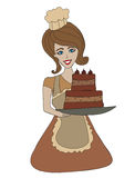 Housewife serving cake with cream Royalty Free Stock Images