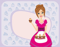 Housewife serving chocolate cupcakes Stock Images