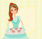 Housewife serving cookies royalty free illustration