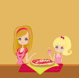 Housewife serving pizza Royalty Free Stock Photo