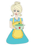 Housewife serving soup Royalty Free Stock Images