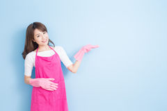 Housewife show something to you Stock Photo
