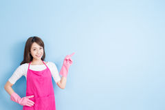 Housewife show something to you Stock Photography