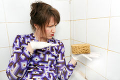 Housewife in shower Stock Image