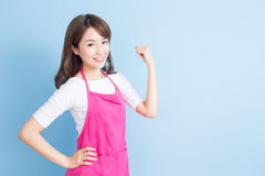 Housewife smile and feel excited Stock Photo