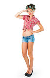Housewife standing and saluting Stock Images