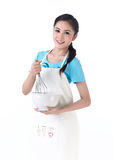 A housewife stirring eggs Stock Photo