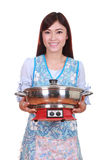 Housewife with suki pot Royalty Free Stock Photo