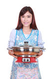Housewife with suki pot Stock Photos