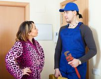 Housewife and surprised worker Stock Photography