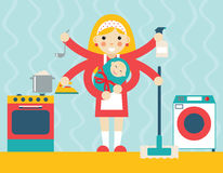 Housewife symbol with child and accessories icons Royalty Free Stock Photography