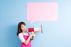 Housewife take billboard and microphone Stock Images