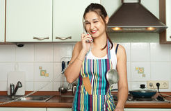 Housewife talking phone on Stock Photo