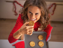 Housewife tasting cookie from pan with christmas cookies Royalty Free Stock Image