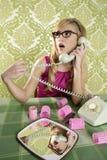 Housewife telephone woman vintage wallpapaper. Retro housewife telephone woman vintage hysterical surprised gesture Stock Photo