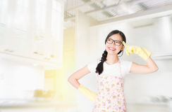 Housewife thinking in kitchen Royalty Free Stock Photo